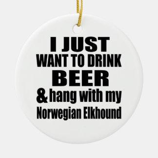 Hang With My Norwegian Elkhound Round Ceramic Decoration