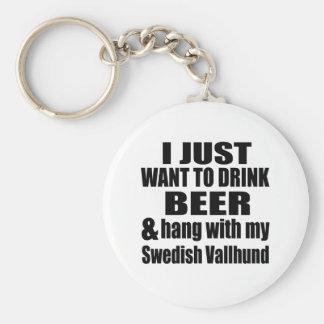 Hang With My Swedish Vallhund Basic Round Button Key Ring