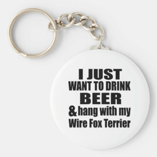 Hang With My Wire Fox Terrier Basic Round Button Key Ring