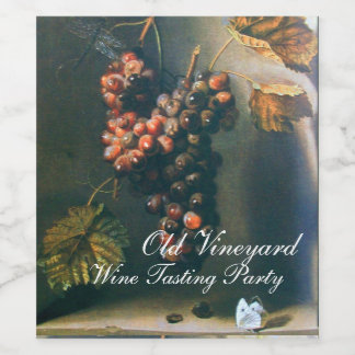 HANGED GRAPES RUSTIC RED WINE TASTING PARTY WINE LABEL