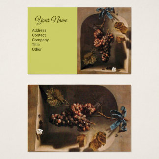 HANGED GRAPES Viticulture,Rustic Brown Green Business Card