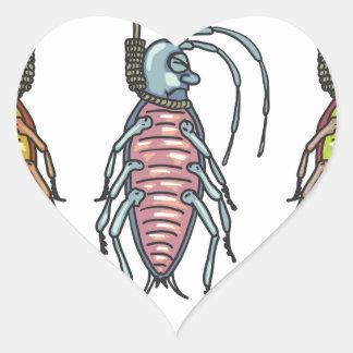 Hanged Roaches Sketch Heart Sticker