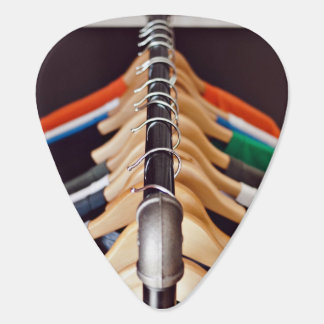 Hanger Themed, Shirts Of Various Colors On Wooden Guitar Pick