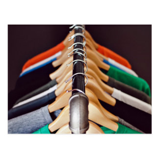 Hanger Themed, Shirts Of Various Colors On Wooden Postcard