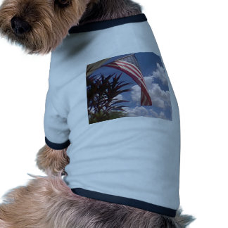 Hanging American Flag Doggie T Shirt