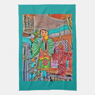 Hanging Angel Metal Art Chili Peppers Painted Frog Tea Towel