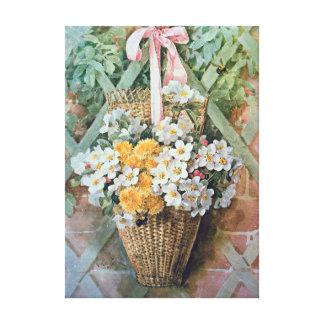 Hanging Basket of Flowers by Paul de Longpre Canvas Prints