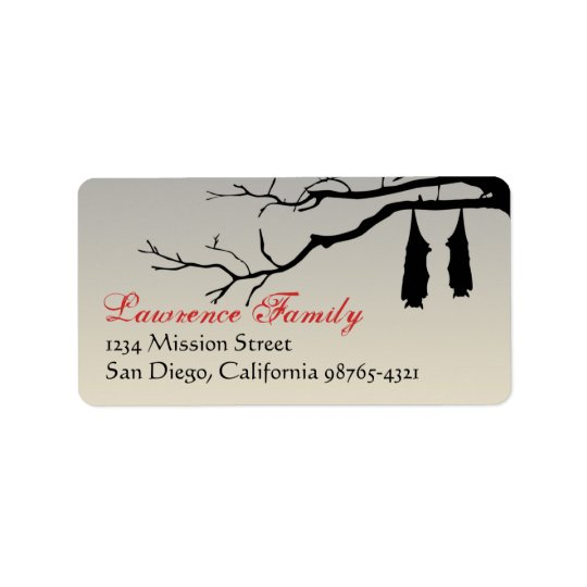 Hanging bats bare branches decay Halloween address Address Label