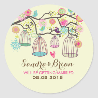 Hanging Bird Cages & Retro Flowers Wedding Sticker