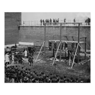 Hanging Bodies of Lincoln Conspirators, 1865 Poster