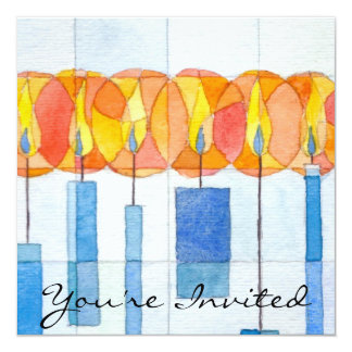 Hanging Hanukkah Candles 5.25x5.25 Square Paper Invitation Card