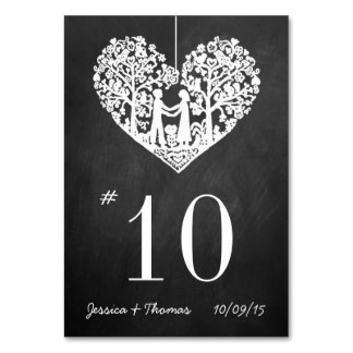 Hanging Heart Tree Chalkboard Wedding Table Number