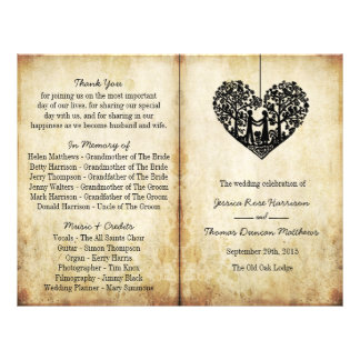 Hanging Heart Tree Vintage Wedding Bi-Fold Program Flyer