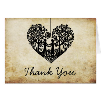 Hanging Heart Tree Vintage Wedding Thank You Note Card