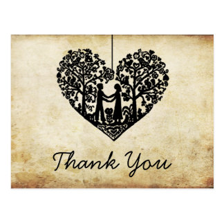 Hanging Heart Tree Vintage Wedding Thank You Postcard
