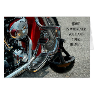 Hanging Helmet V-Twin Motorcycle Anniversary Card