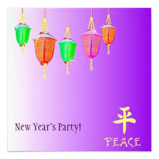 Hanging Lanterns - Purple 13 Cm X 13 Cm Square Invitation Card