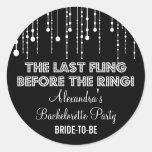 Hanging Lights Bachelorette Party Black Round Round Sticker