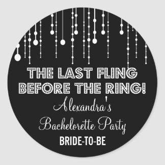 Hanging Lights Bachelorette Party Black Round Round Sticker