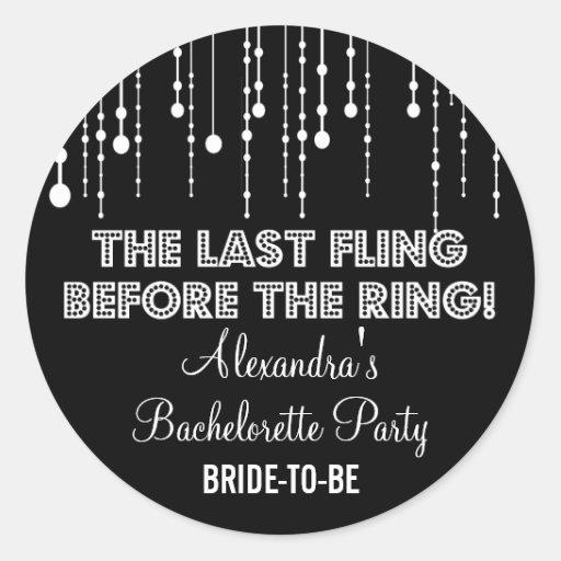 Hanging Lights Bachelorette Party Black Round Sticker