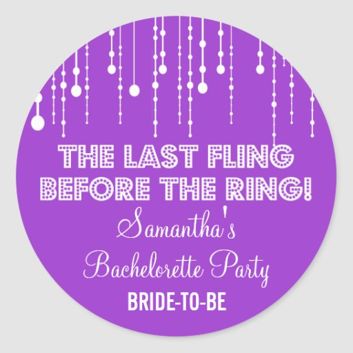 Hanging Lights Bachelorette Party Purple Round Round Sticker