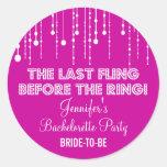 Hanging Lights Bachelorette Party Round Sticker