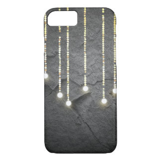 hanging lights glowing on slate gray rock iPhone 8/7 case