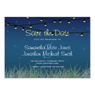 Hanging Lights Night Under the Stars Save the Date Custom Announcements
