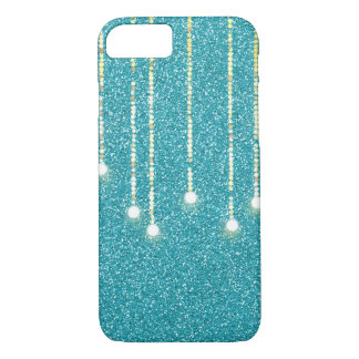 hanging lights on teal glitter iPhone 8/7 case