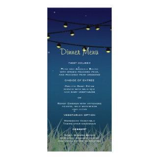 Hanging Lights Under the Stars Slim Dinner Menu Rack Cards