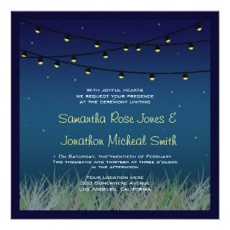 Hanging Lights Wedding Night Under the Stars Invite
