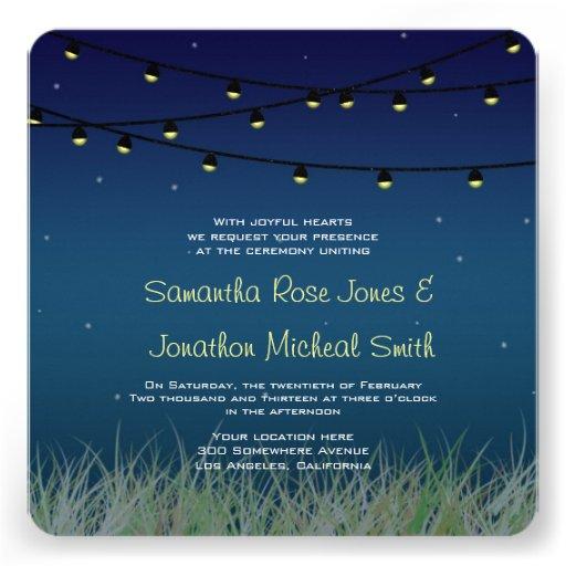 Hanging Lights Wedding Night Under the Stars Invites