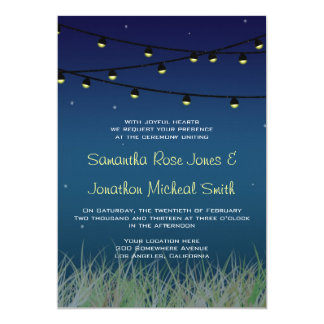 Hanging Lights Wedding Night Under the Stars Personalized Invite