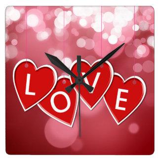 Hanging Love Sticker Hearts - Wall Clock
