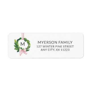 Hanging monogram wreath, Scandinavian, minimalist Return Address Label