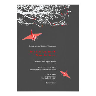 Hanging Origami Paper Cranes Wedding Invitation