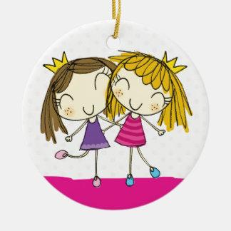 ♥ HANGING ORNAMENT ♥ princess pink polka dot Round Ceramic Decoration