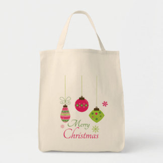 Hanging ornaments merry Christmas canvas tote bag