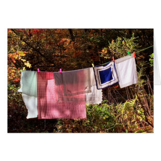 """""""Hanging Out"""" No. 1  Autumn Country Clothesline Card"""