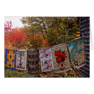 """""""Hanging Out"""" No. 2  Autumn Country Clothesline Card"""