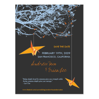 Hanging Paper Cranes Branch Tree Save The Date Postcard