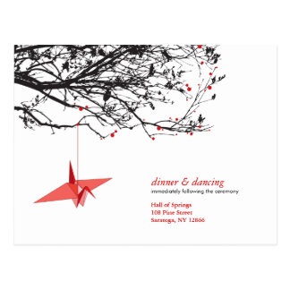 Hanging Paper Cranes Origami Oriental Wedding RSVP Post Card