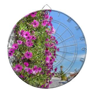 Hanging pink spanish daisies on wall near street dartboard