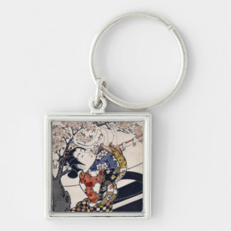 Hanging poems on a cherry tree, Ishikawa Toyonobu Silver-Colored Square Key Ring