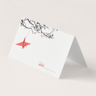Hanging Red Origami Paper Cranes Asian Wedding Place Card