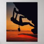 Hanging Rock Climber at Sunrise Poster