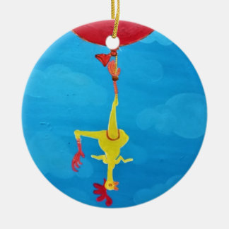 Hanging rubber chicken ceramic ornament