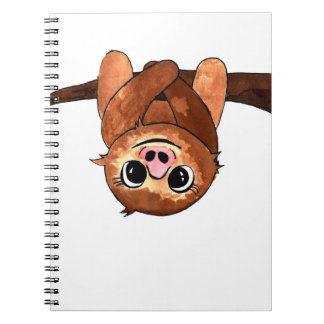 Hanging sloth spiral notebook