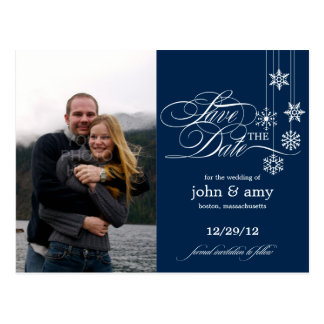 Hanging Snowflakes Photo Save The Date (Navy) Postcard