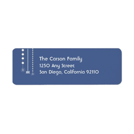 Hanging Snowflakes Return Address Label (blue)